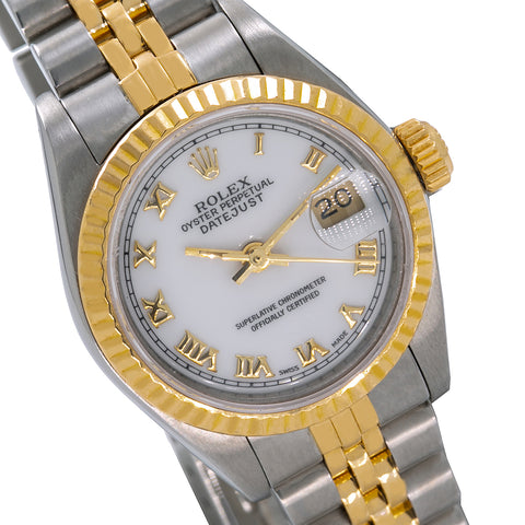 Ladies Rolex Datejust 69173 26mm White Dial Two Tone Bracelet