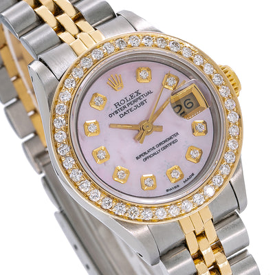 47451395f89e9 Two Tone Rolex Datejust 69173 26mm Pink Mother of Pearl Dial with 1.3CT Diamond  Bezel