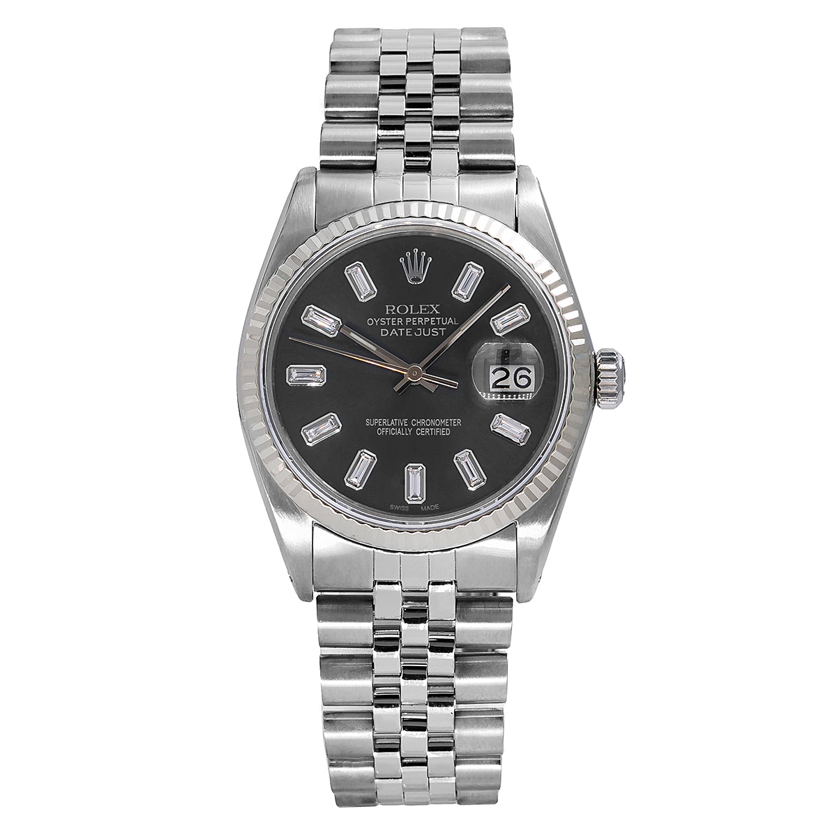 Rolex Datejust 16014 36mm Black Dial with Baguette Hour Marks