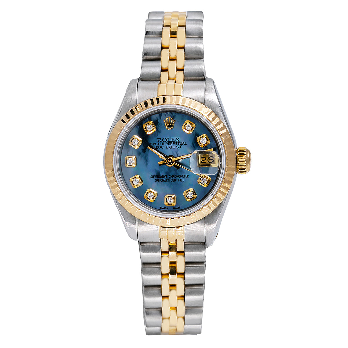 Rolex Datejust Two Tone Diamond Watch, 69173 26mm, Sky Blue Dial with Diamond Hour Marks