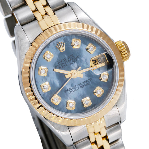 Two Tone Rolex Datejust 69173 26mm Sky Blue Dial with Diamond Hour Marks