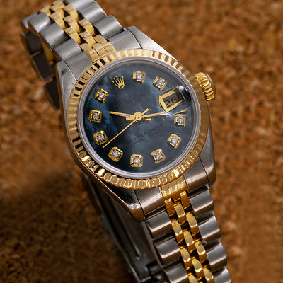 5ea96a11a9e4f Two Tone Rolex Datejust 69173 26mm Sky Blue Dial with Diamond Hour Marks