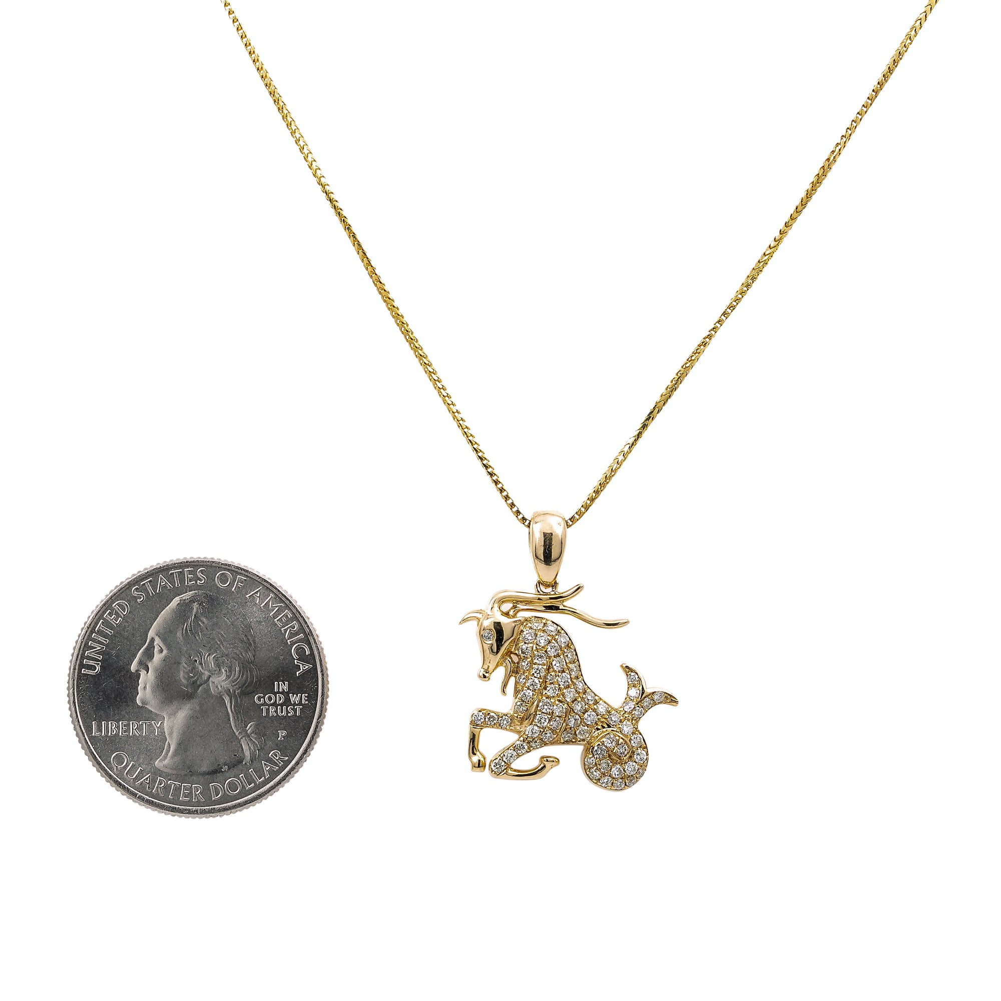 Unisex 14K Yellow Gold Zodiac Sign Capricorn Pendant With 0.48 CT Diamonds