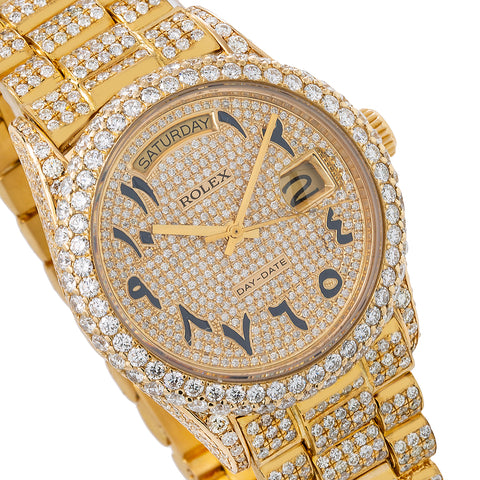 Rolex Day-Date 18038 36MM Champagne Custom Arabic Diamond Dial With 15.75 CT Diamonds