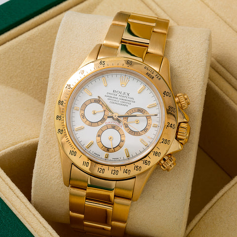 Rolex Daytona 16528 White Dial 40MM Yellow Gold Bracelet