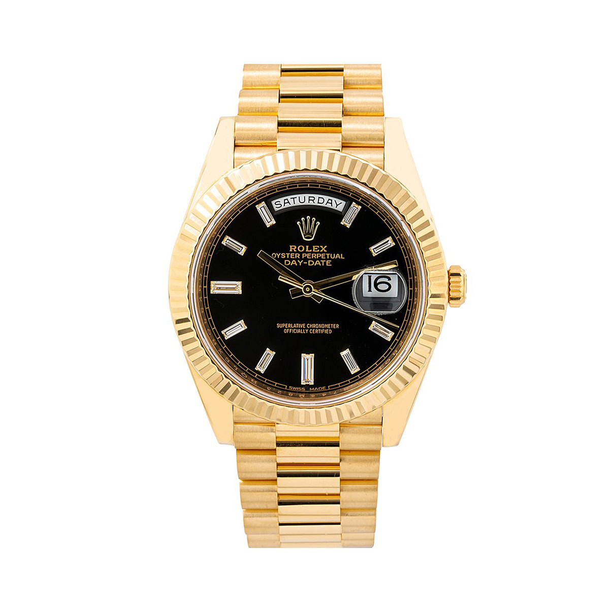 Rolex Day-Date 228238 40MM Black Stick Dial With President Yellow Gold Bracelet