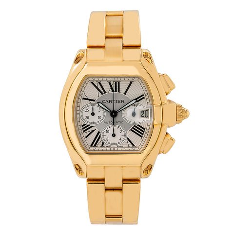 Cartier Roadster W62021Y2 47MM Chronograph White Dial With 18k Yellow Gold Bracelet