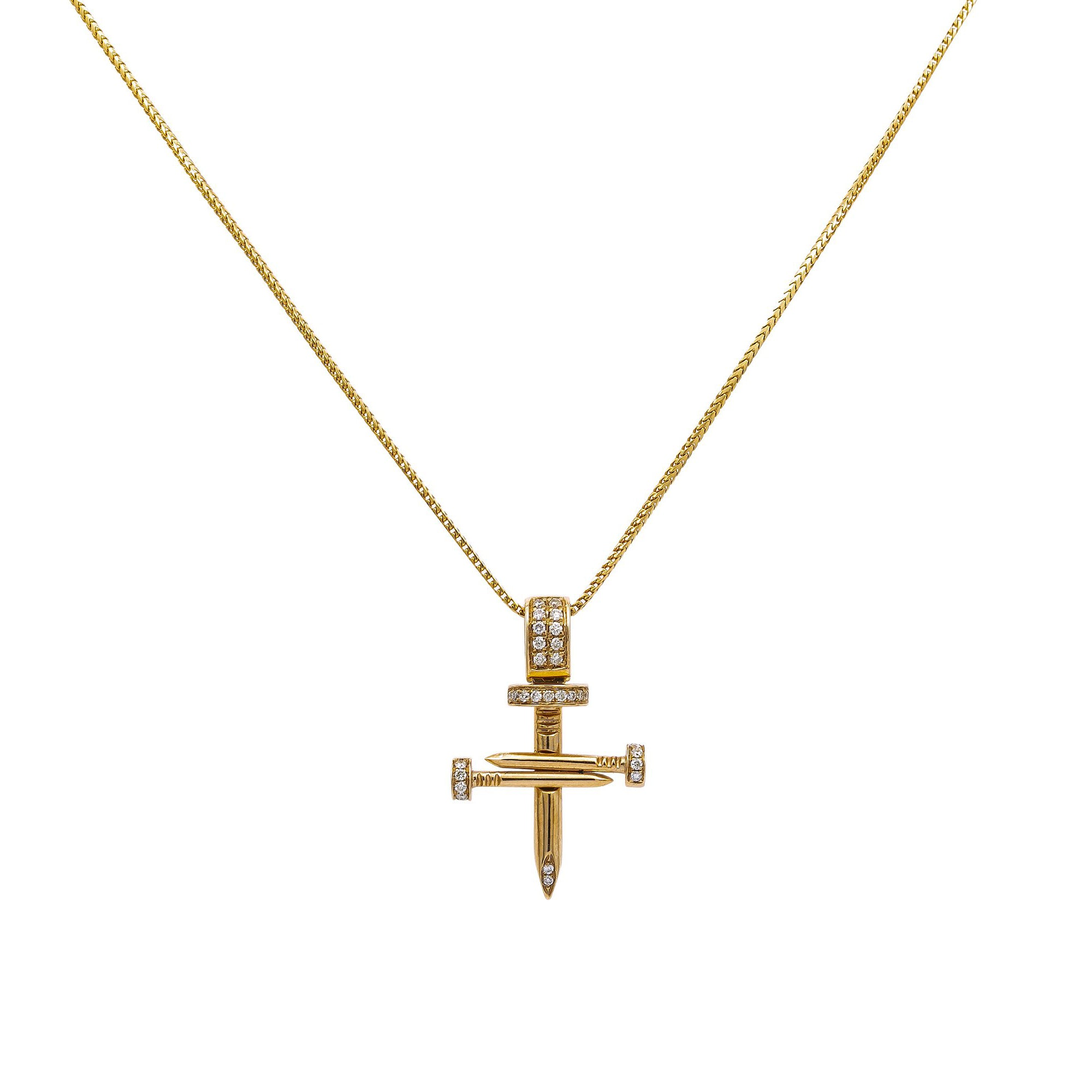 Unisex 14K YELLOW GOLD PENDANT WITH 0.8 CT DIAMONDS
