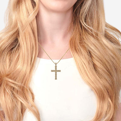 Unisex 18K Yellow Gold Cross Pendant With 0.45 CT Diamonds