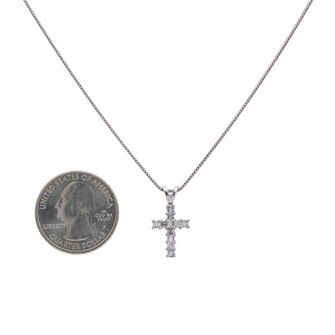 14K White Gold Cross Pendant with 0.55 CT Diamonds
