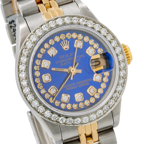 Rolex Lady-Datejust Diamond Watch, 69173 26mm, Blue Diamond Dial With 1.05 CT Diamonds Two Tone Bracelet