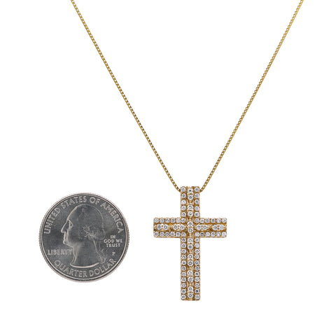 Unisex 14K Yellow Gold Cross Pendant with 0.90 CT Diamonds
