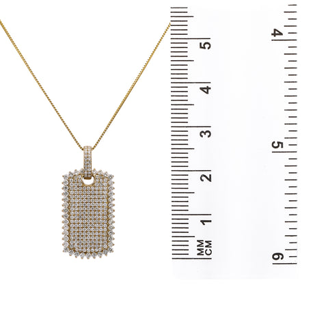 Men's 14K Yellow Gold Dog Tag Pendant with 3.12 CT Diamonds