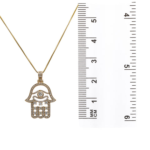 14K Yellow Gold Hamsa Pendant with 1.34 CT Diamonds