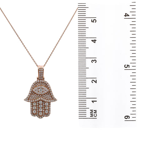 14K Rose Gold Hamsa Pendant with 2.45 CT Diamonds