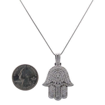 Men's 14K White Gold Hamsa Pendant with 2.95 CT Diamonds