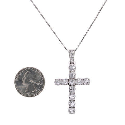 14K White Gold Cross Pendant with 2.20 CT Diamonds