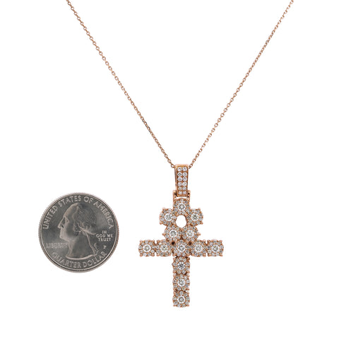Unisex 14K Rose Gold Ankh Pendant with 1.85 CT Diamonds