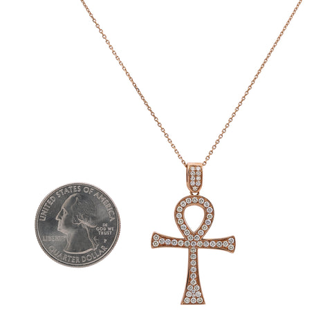 14K Rose Gold Ankh Pendant with 1.05 CT Diamonds