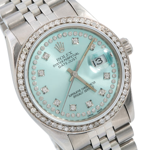 Rolex Datejust 16014 36MM Turquoise Diamond Dial With 1.20 CT Diamonds