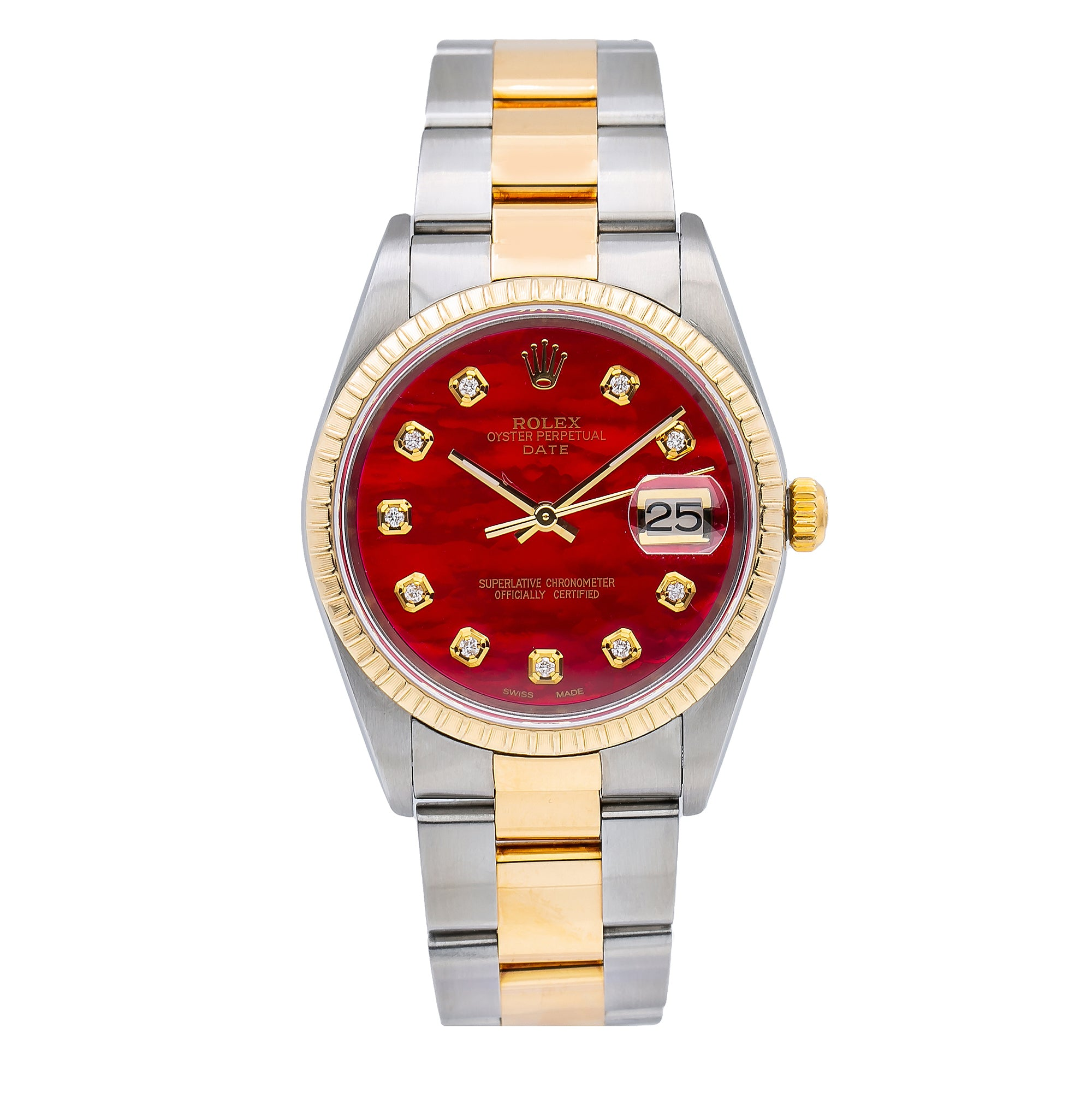 Rolex Oyster Perpetual Date 15223 34MM Red Diamond Dial With 1.20 CT Diamonds