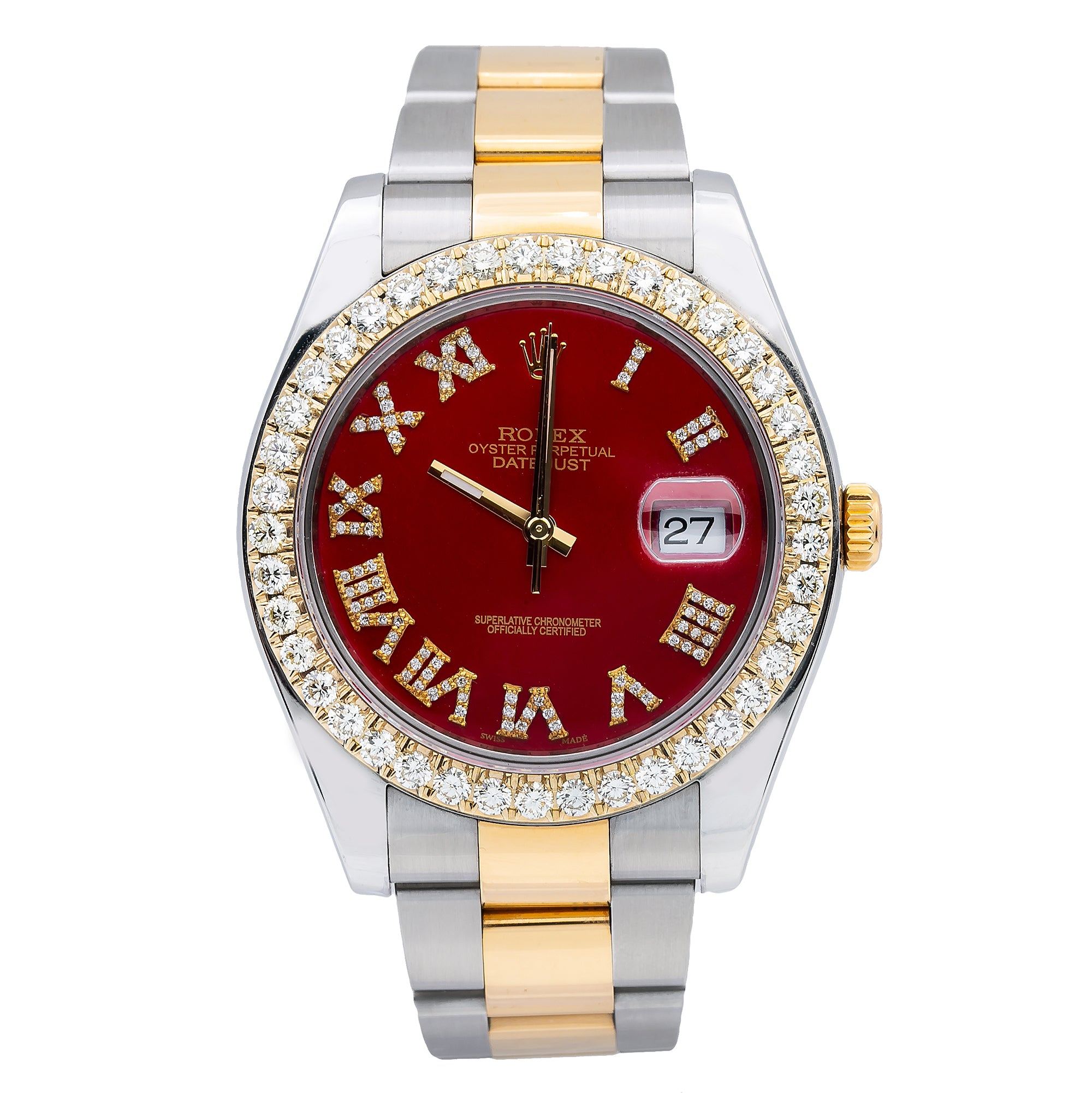 Rolex Datejust II 116333 41MM Red Diamond Dial With Two Tone Oyster Bracelet
