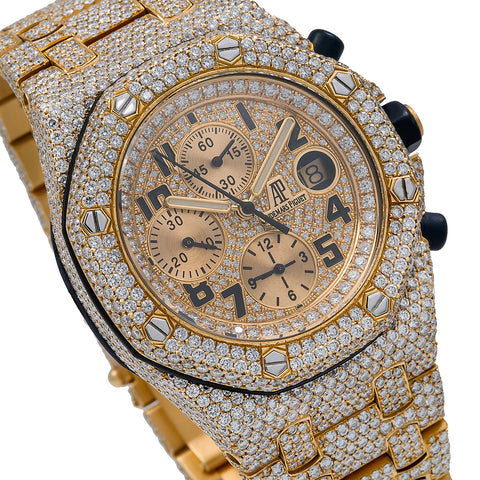 Audemars Piguet Royal Oak Offshore Chronograph 25721BA 42MM Champagne Dial With 29.75 CT Diamonds