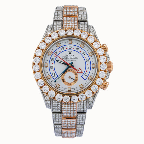 Rolex Yacht-Master II Diamond Watch, 116681 44mm, White Dial With 17.50 CT Diamonds