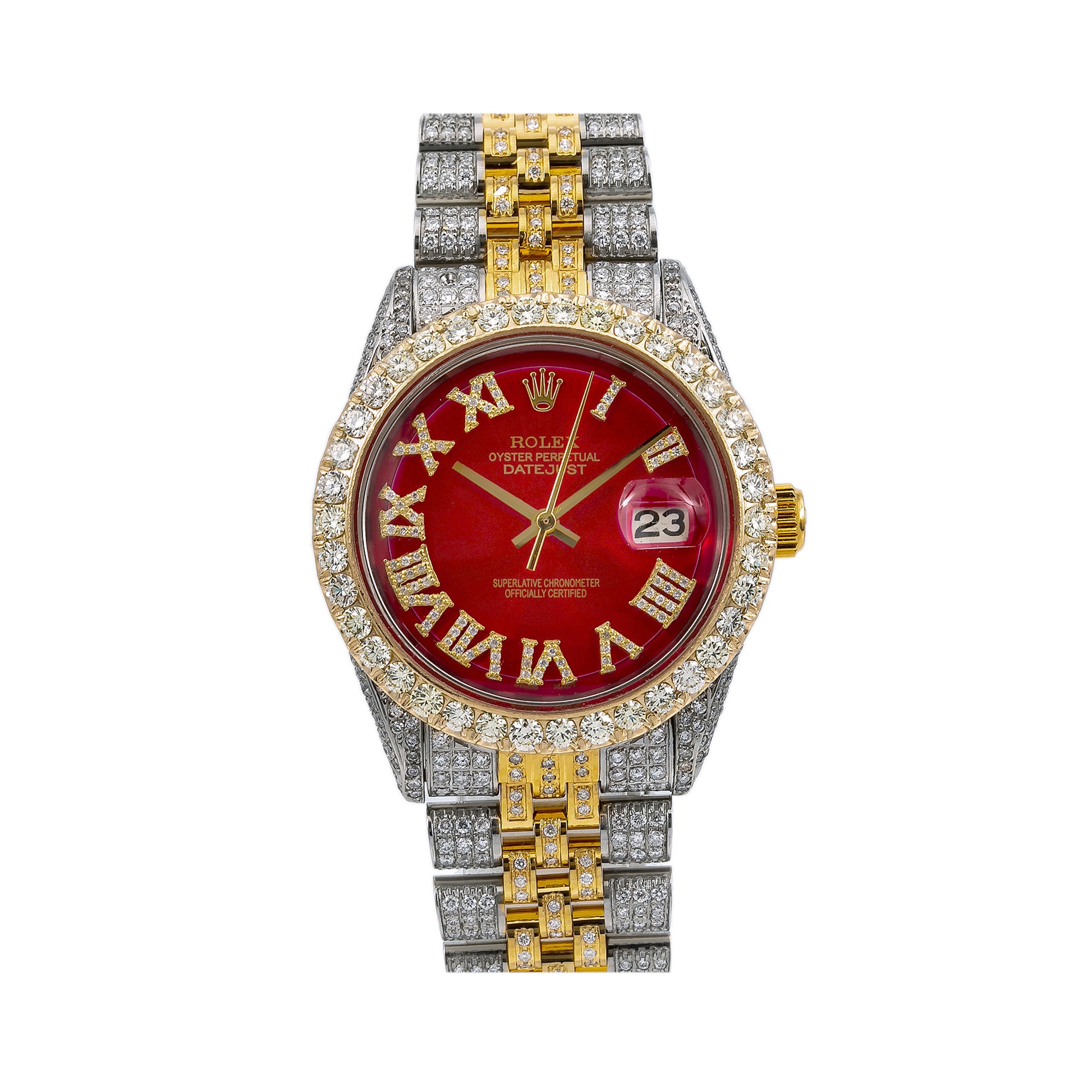 Rolex Datejust Diamond Watch, 1601 36mm, Red Diamond Dial With 8.25 CT Diamonds