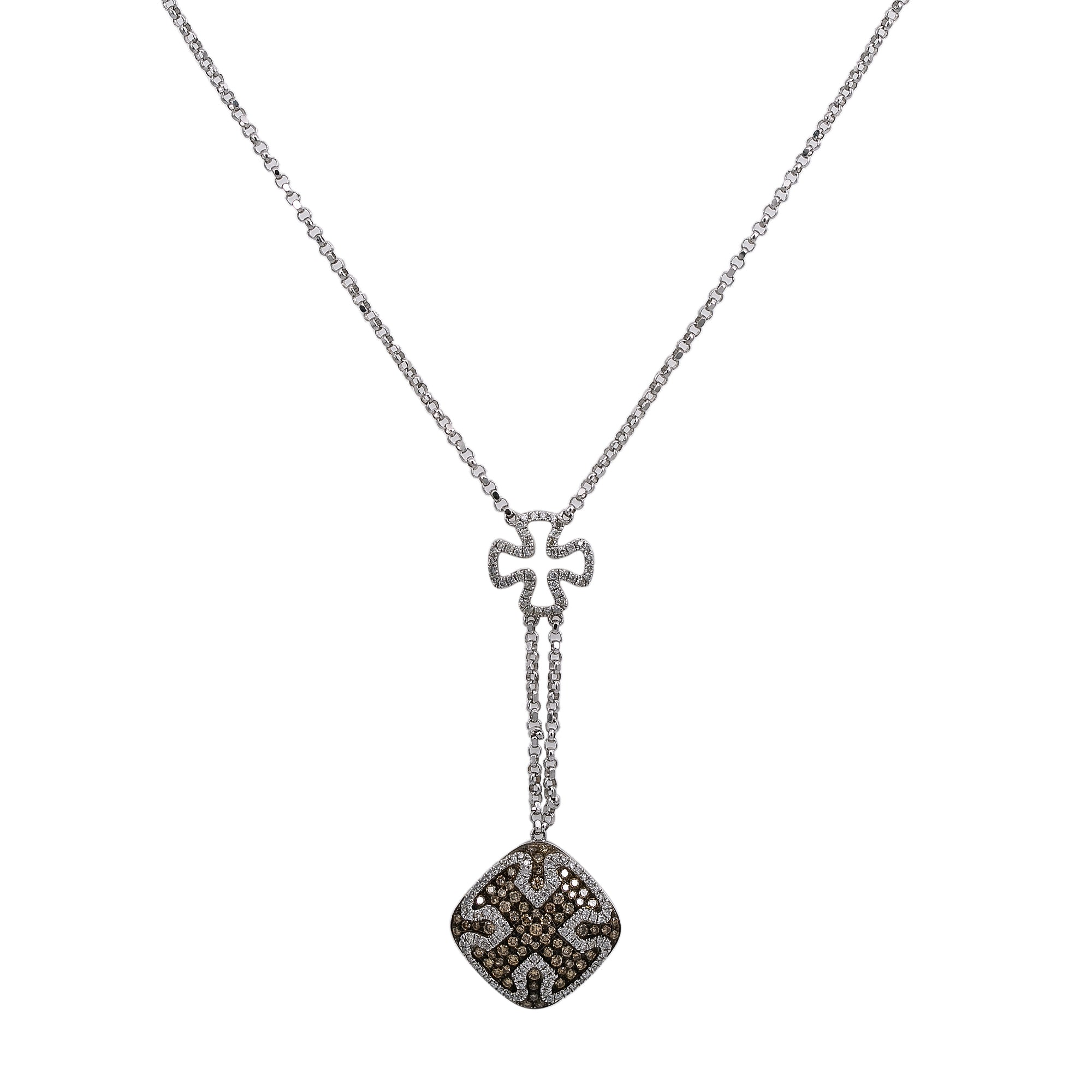 14K White Gold Women's Necklace, chain and diamonds
