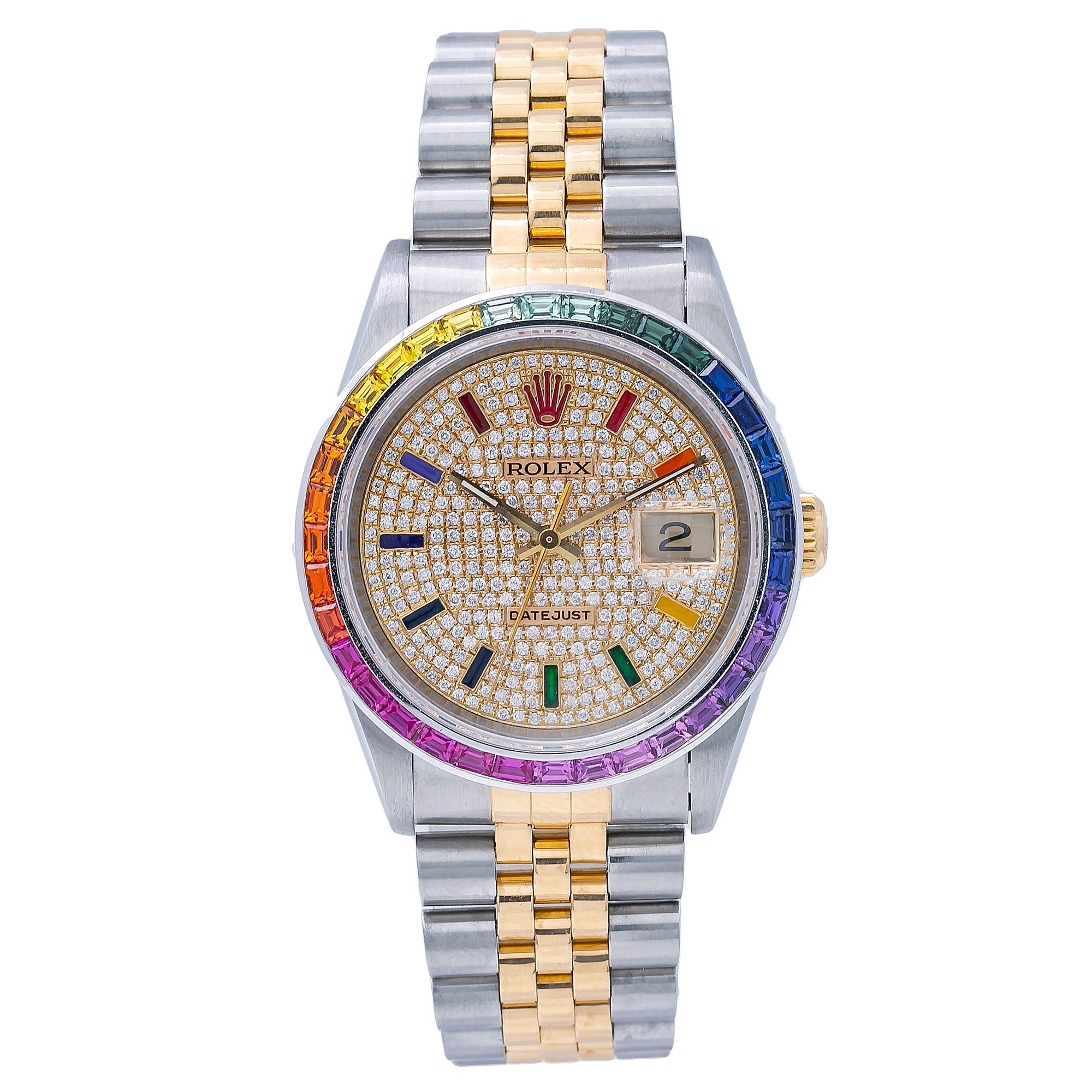 Rolex Datejust 16233 36MM Rainbow Diamond Dial With Two Tone Jubilee Bracelet