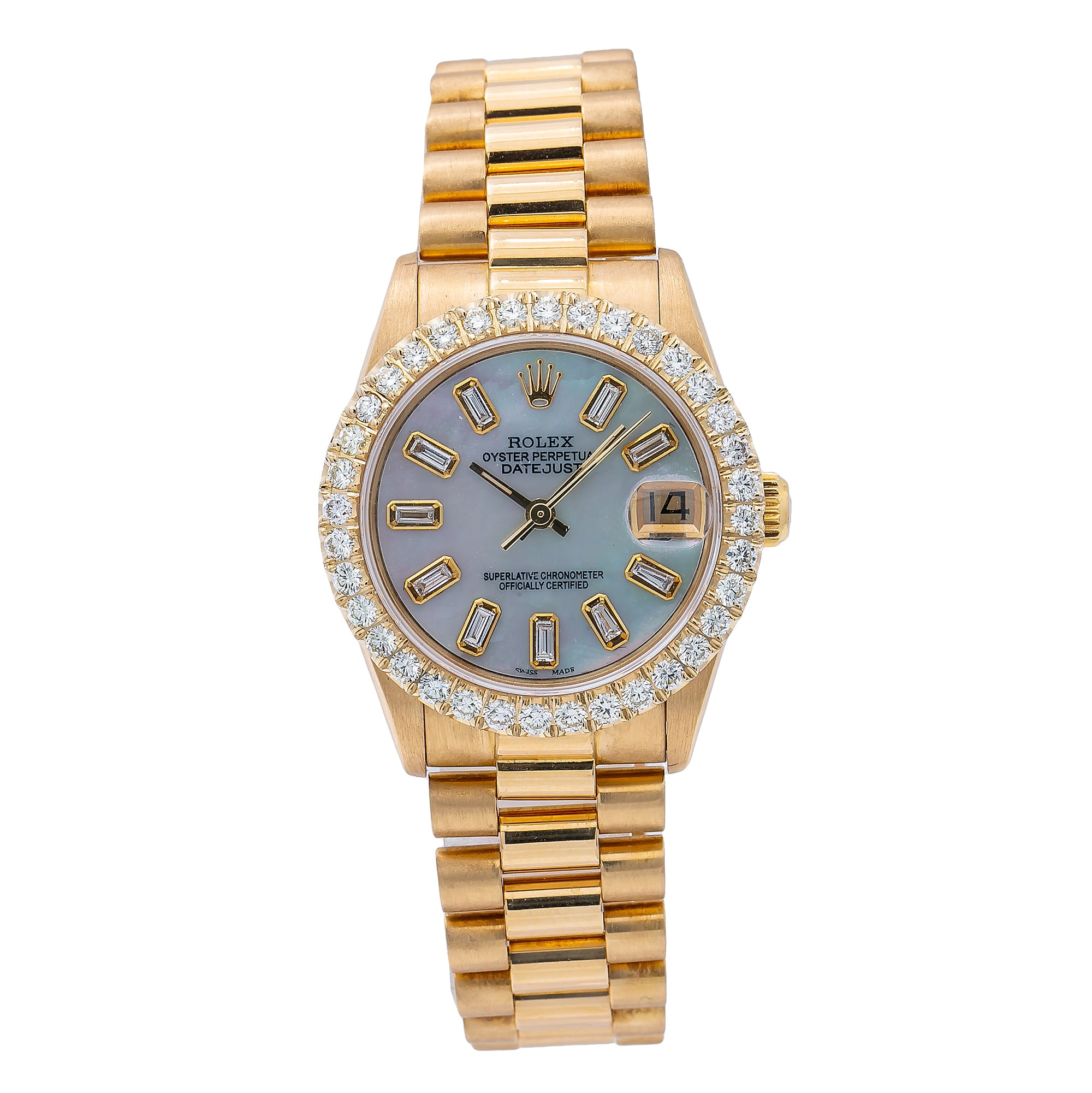 Rolex Datejust 68278 31MM Blue Diamond Dial With 18K Yellow Gold President Bracelet
