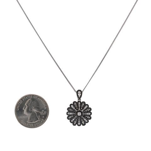14K White Gold 16 Petals Flower Women's Pendant with 1.68CT Diamonds