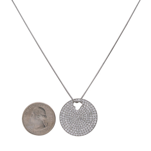 18K White Gold Circle with Heart Women's Pendant with 2.72CT Diamonds