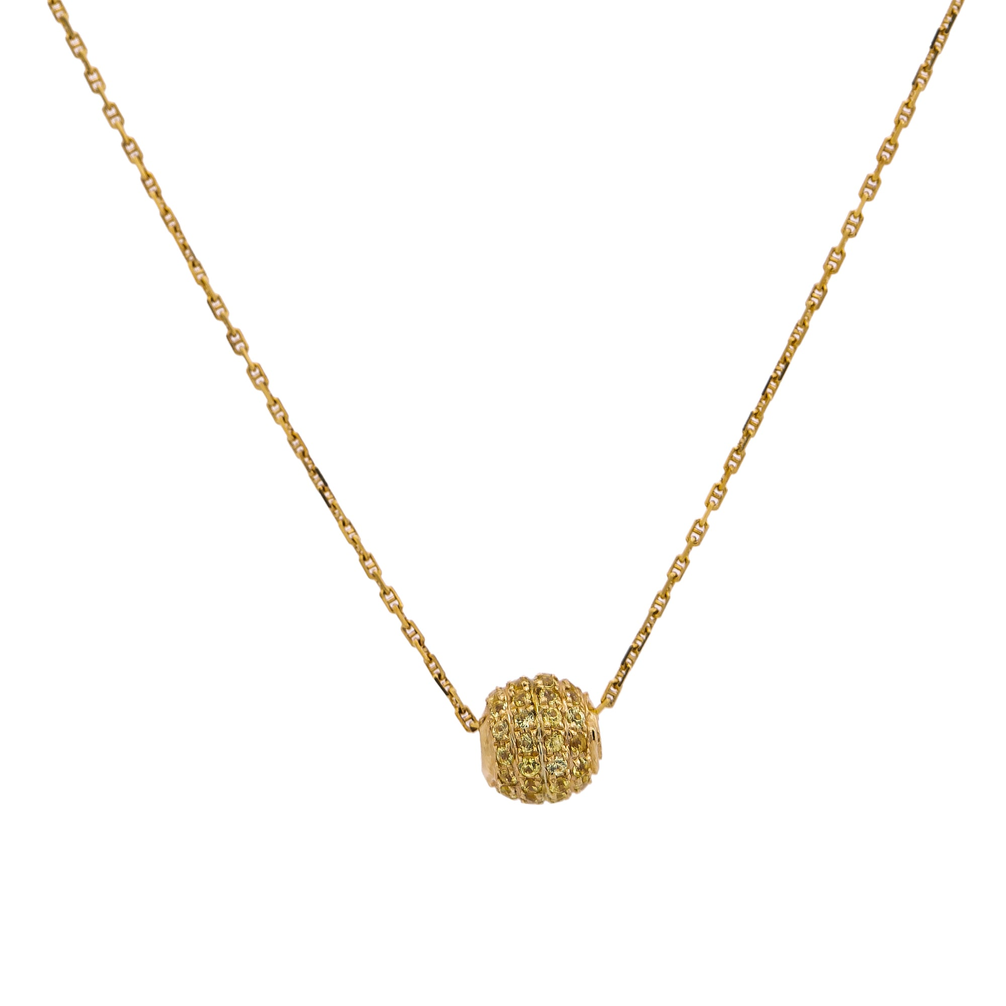 14K Yellow Gold Women's Necklace, chain and diamonds