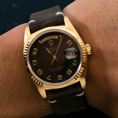 Rolex Day-Date 18038 36MM Brown Dial With Leather Bracelet