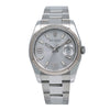 Rolex Datejust 116234 36MM Rhodium Waves Dial Diamond on 6&9 Fluted Oyster Watch