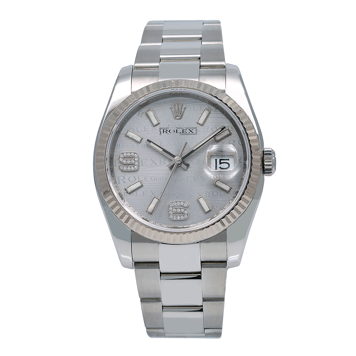 Rolex Datejust Diamond Watch, 116234 36mm, Rhodium Waves Dial Diamond on 6&9 Fluted Oyster Watch