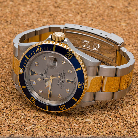 Rolex Submariner Date 16613 40MM Silver Dial With Two Tone Bracelet
