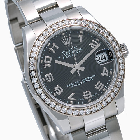 Rolex Datejust Ladies Diamond Watch 178384 31mm Black Dial Factory diamond Bezel With Stainless Steel Bracelet