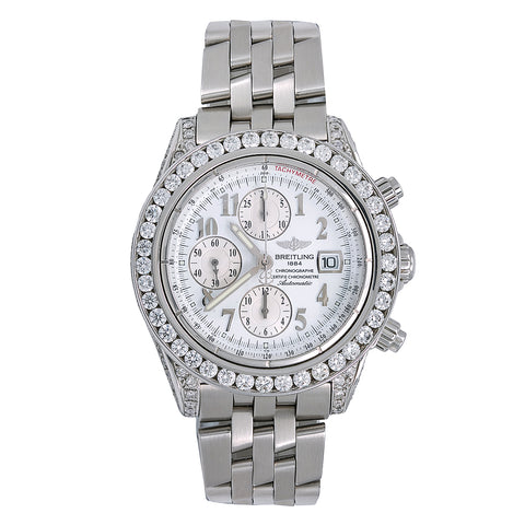 Breitling Chronomat Evolution A13356 44MM White Dial With Stainless Steel Bracelet
