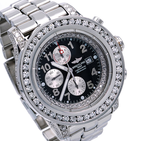 Breitling Super Avenger A13370 48MM Black Diamond Dial With 9.35 CT Diamonds