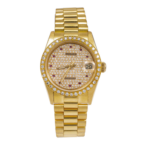 Rolex Datejust Midsize President 68278 31MM Champagne Diamond Dial With Yellow Gold Bracelet