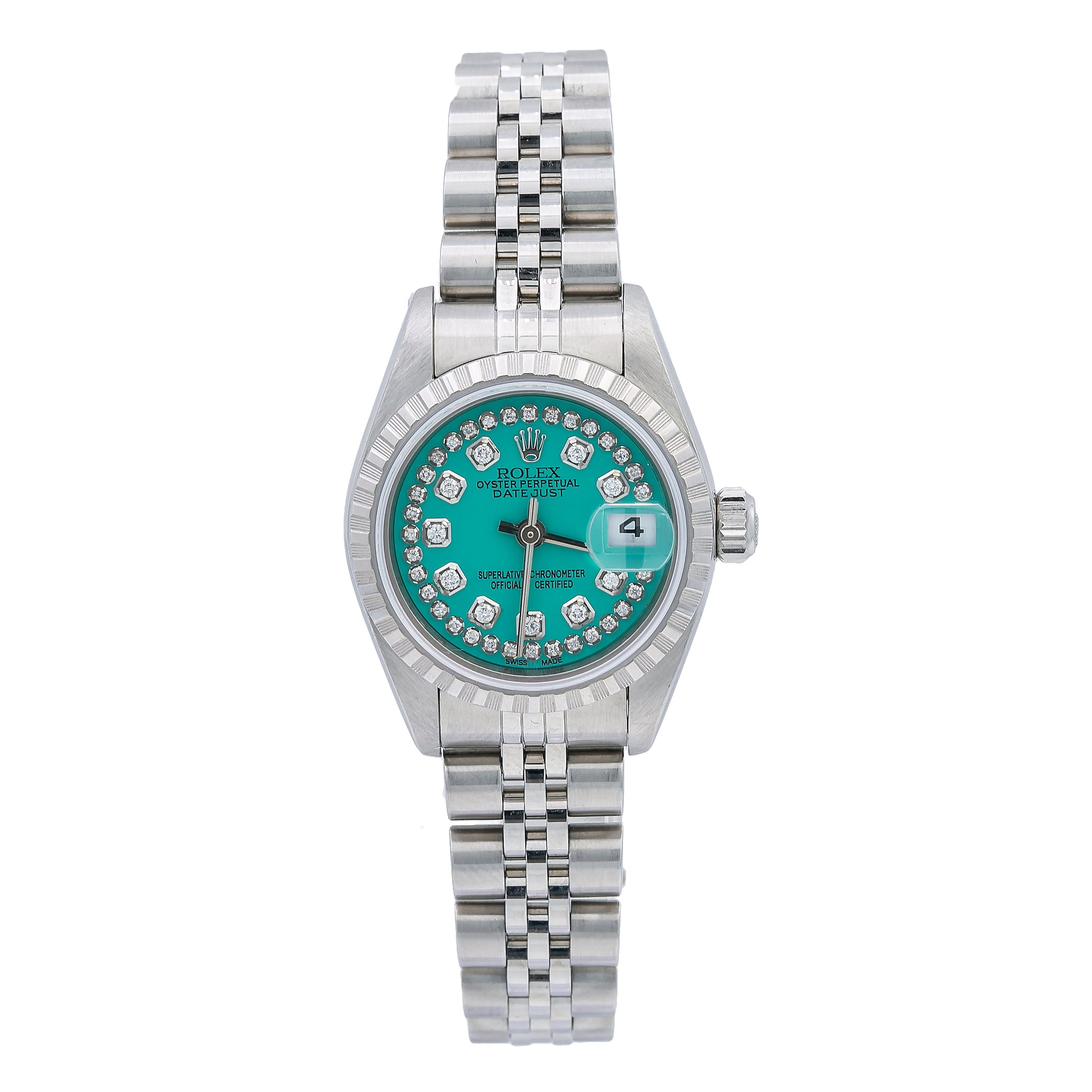 Rolex Oyster Perpetual Lady Date 79240 26MM Blue Green Diamond Dial With Stainless Steel Jubilee Bracelet