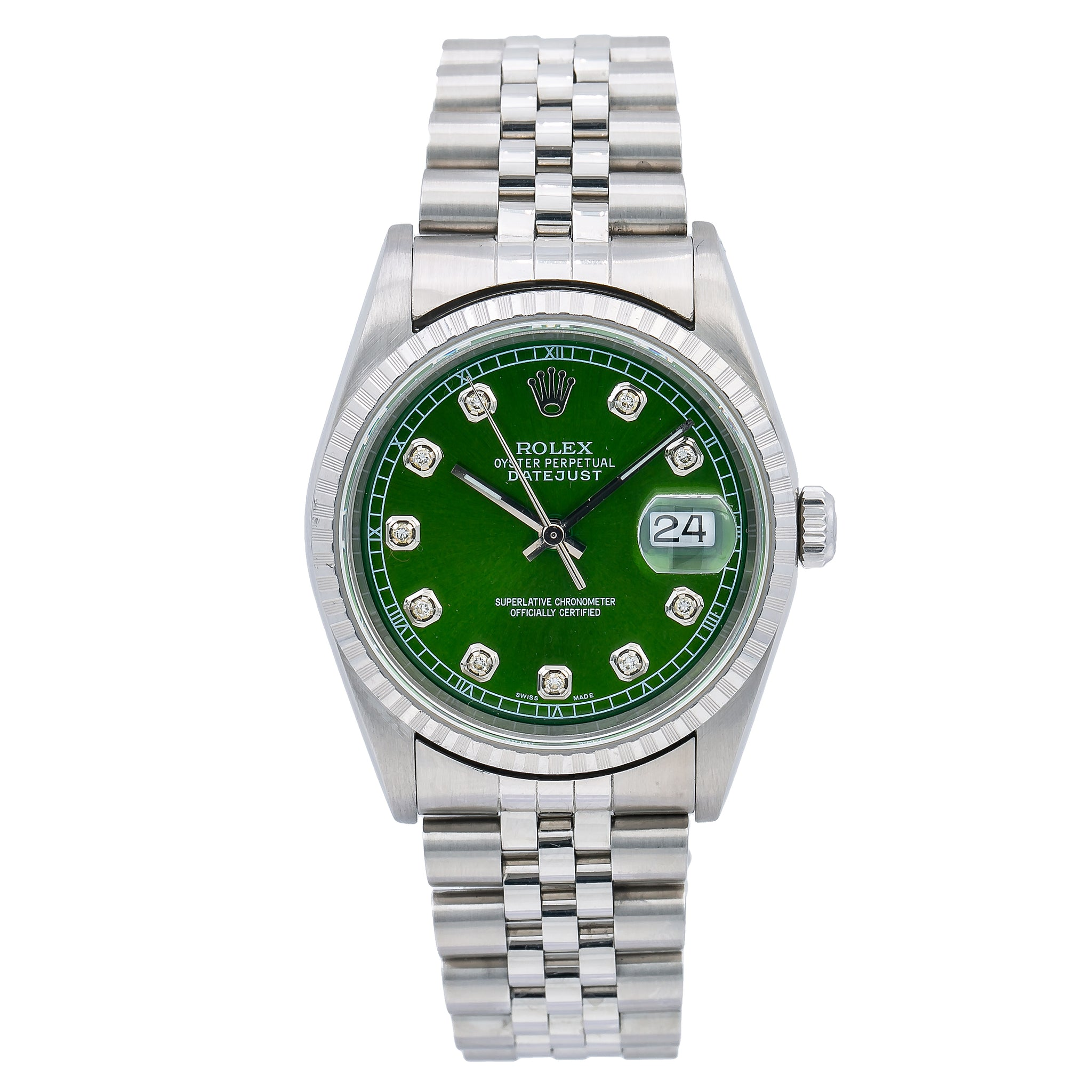 Rolex Datejust 16220 36MM Green Diamond Dial With Stainless Steel Jubilee Bracelet