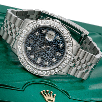 Rolex Datejust 16030 36MM Blue Diamond Dial With Stainless Steel Bracelet