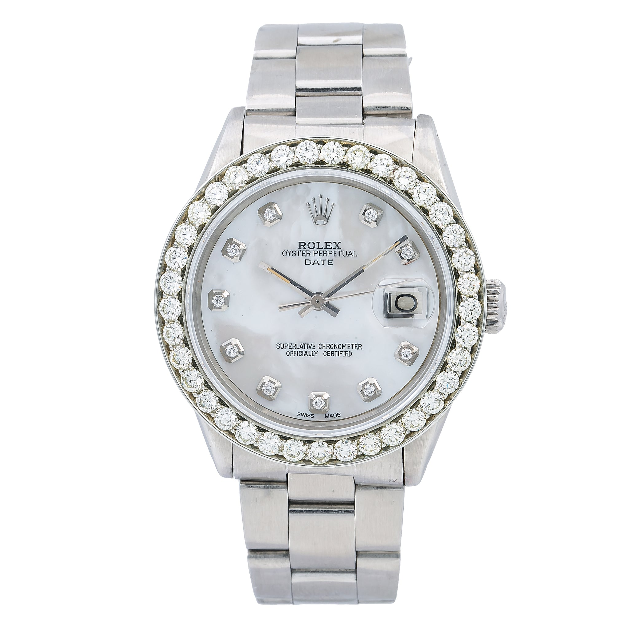 Rolex Oyster Perpetual Date 1500 34MM Silver Diamond Dial With 1.15 CT Diamonds