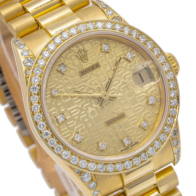 Rolex Datejust 68278 31MM Champagne Diamond Dial With Yellow Gold Bracelet