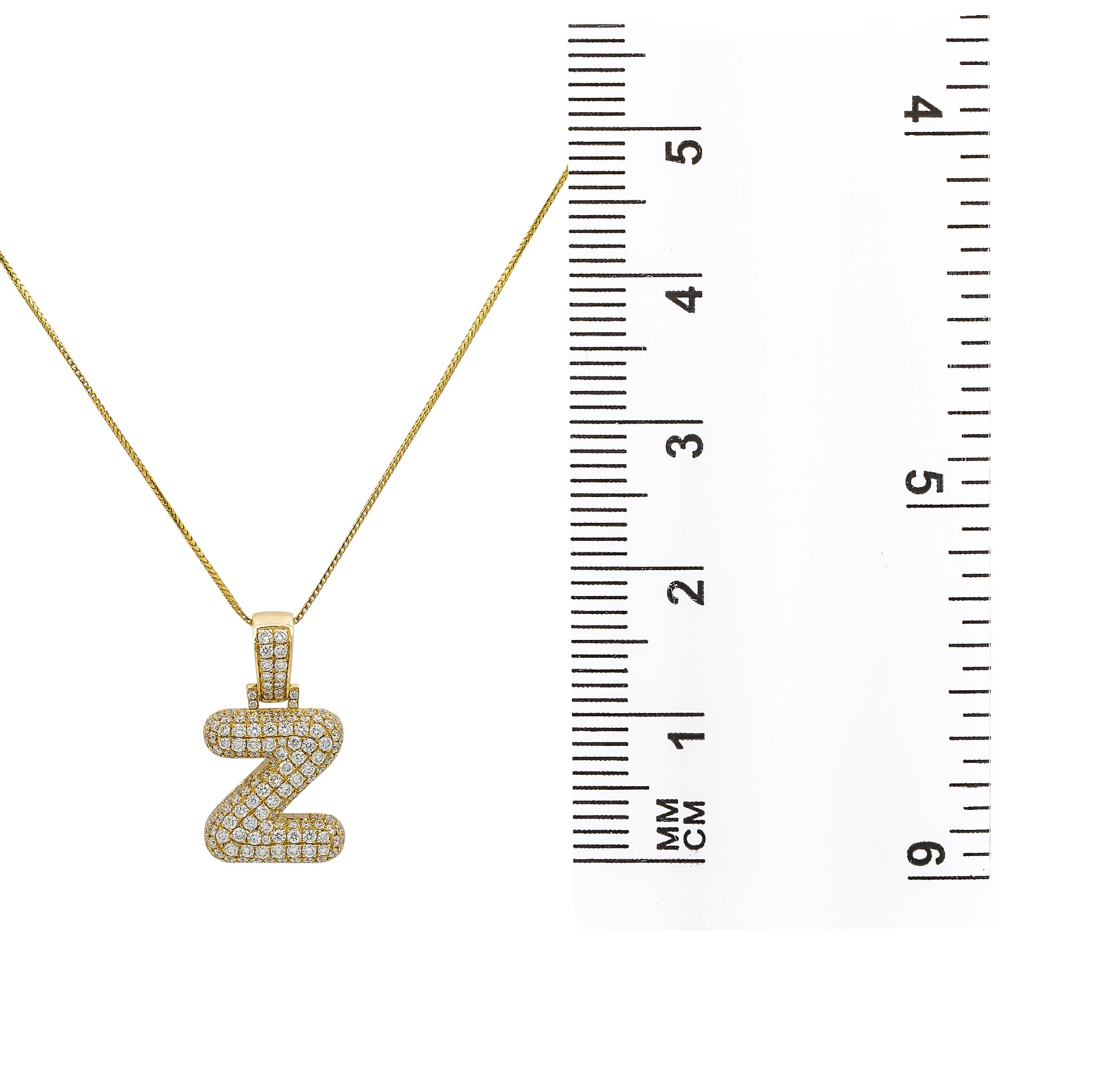 Unisex 14K Yellow Gold Z initial Pendant with 3.45 CT Diamonds