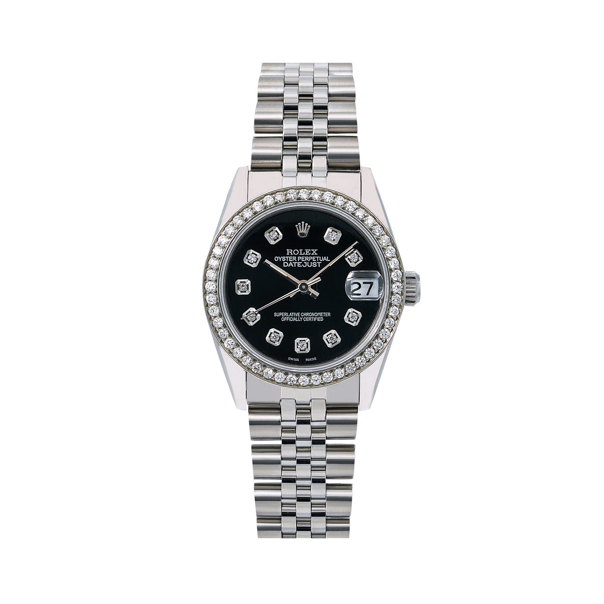 Rolex Datejust Diamond Watch, 68274 31mm, Black Diamond Dial With Stainless Steel Jubilee Bra